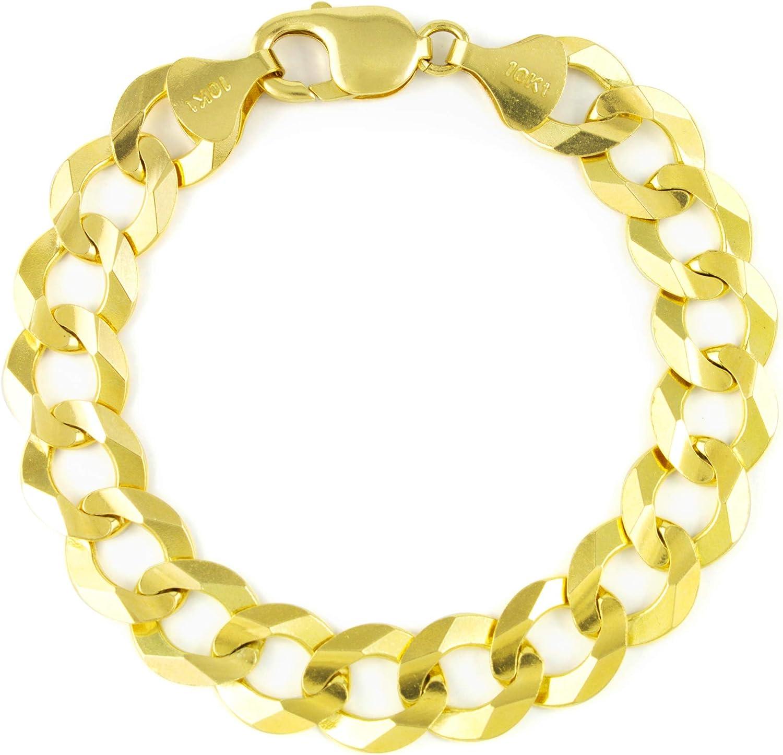 Nuragold 10k Ranking TOP18 Yellow Gold 12.5mm Solid Cuban Chain Link Tulsa Mall Brac Curb