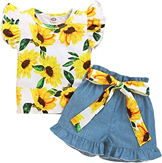 YALLET 3PCS Toddler Girl Outfit,Short Sleeve Flowers Ruffle Tops Short Jeans Pants+Flowers Belat