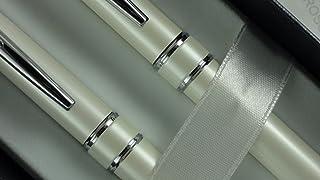 مجموعة أقلام كروس ستراتفورد برأس كروي وقلم رصاص 7 مم - أبيض لؤلؤي (AT0171DC-8) من كروس