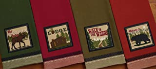 Design Imports A Walk in the Woods Table Linens, 18-Inch by 28-Inch Dishtowels, Set of 4, 1 Moose Trail Embellished, 1 Lodge Embellished, 1 Walk in the Woods Embellished and 1 Bear Country Embellished