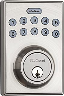 Kwikset 92640-001 Contemporary Electronic Keypad Single Cylinder Deadbolt with 1-Touch Motorized Locking, Satin Nickel (Renewed)