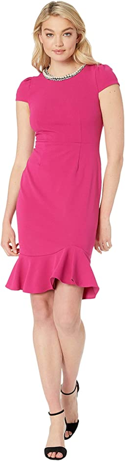Scuba Crepe Dress with Ruffled Hem
