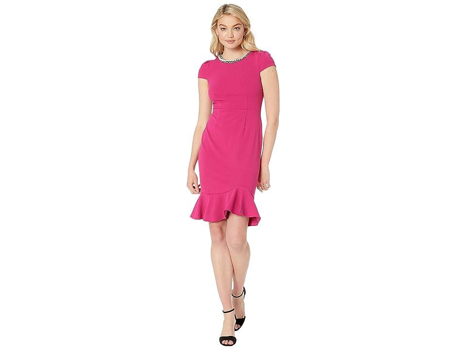 Betsey Johnson Scuba Crepe Dress with Ruffled Hem (Fuchsia) Women