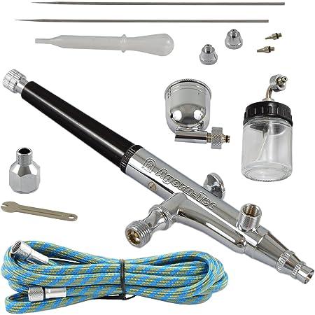 Agora Tec At Airbrush Pistole Kit At Ak 02 Mit 1 8 M Schlauch Und 3 Verschiedenen Düsen Und Nadeln 0 2 Mm 0 3mm 0 5 Mm Gewerbe Industrie Wissenschaft