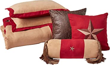 Chezmoi Collection Winslow 7-Piece Western Star Embroidery Microsuede Oversized Bedding Comforter Set (Full, Burgundy/Coffee)