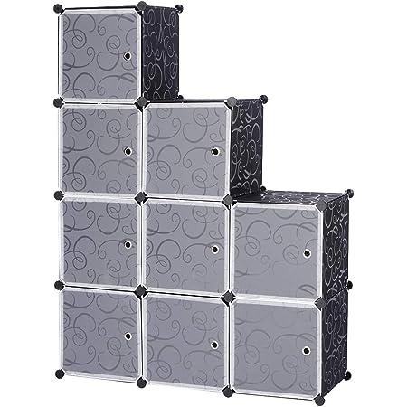 WOLTU SR0055sz DIY Armoire Plastique Chambre Faite de modules avec Porte pour Le Stockage de vêtements, Accessoires, Jouets, Livres,Chaussures,9 Cubes,Noir