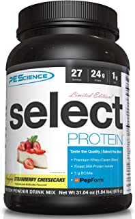 PEScience Select Protein Powder, Strawberry Cheesecake, 27 Serving, Whey and Casein Blend
