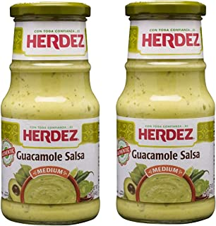 Herdez Authentic Mexican Medium Hot Sauces 15.7 Oz Gluten Free (Guacamole Salsa Medium, 2 Pack)
