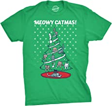 Mens Meowy Christmas Cat Tree Ugly Christmas Sweater T Shirt