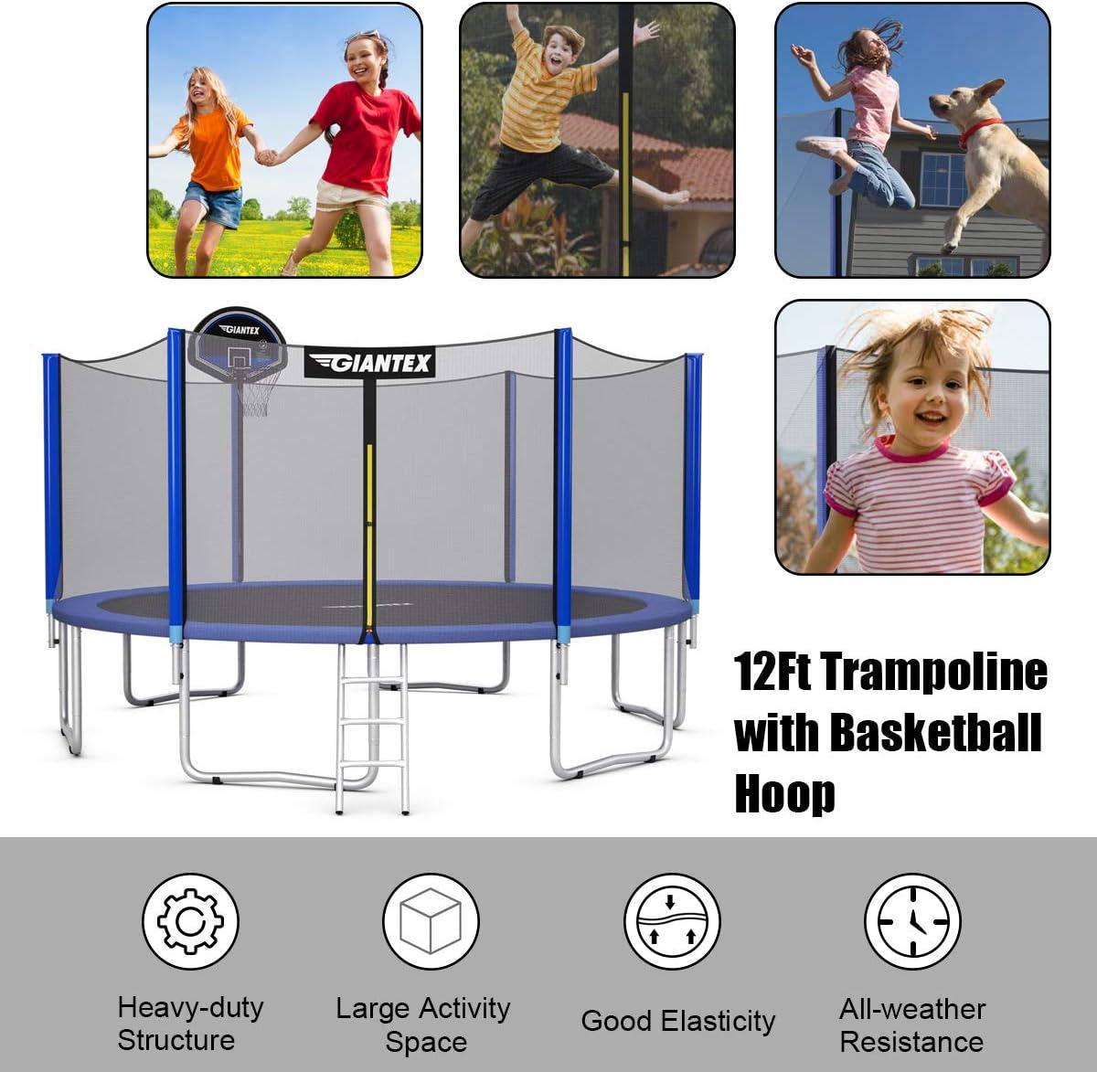 Ladder Adults 10Ft 12Ft 14Ft 15Ft 16Ft Enclosed Trampoline w//Basketball Hoop Giantex Trampoline Safety Enclosure Net Spring Pad Outdoor Big Trampoline Basketball Hoop for Kids