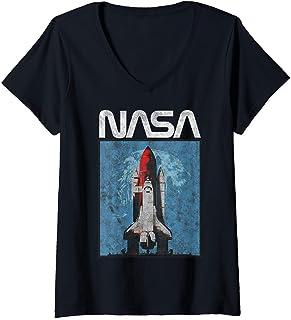 Femme NASA Logo Shuttle Rocket Ship Poster Style T-Shirt avec Col en V