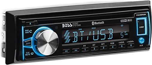 BOSS Audio Systems 750BRGB Car Stereo - Single Din, Bluetooth, CD MP3 USB WMA AM FM Radio, Detachable Front Panel, Multi Color Illumination