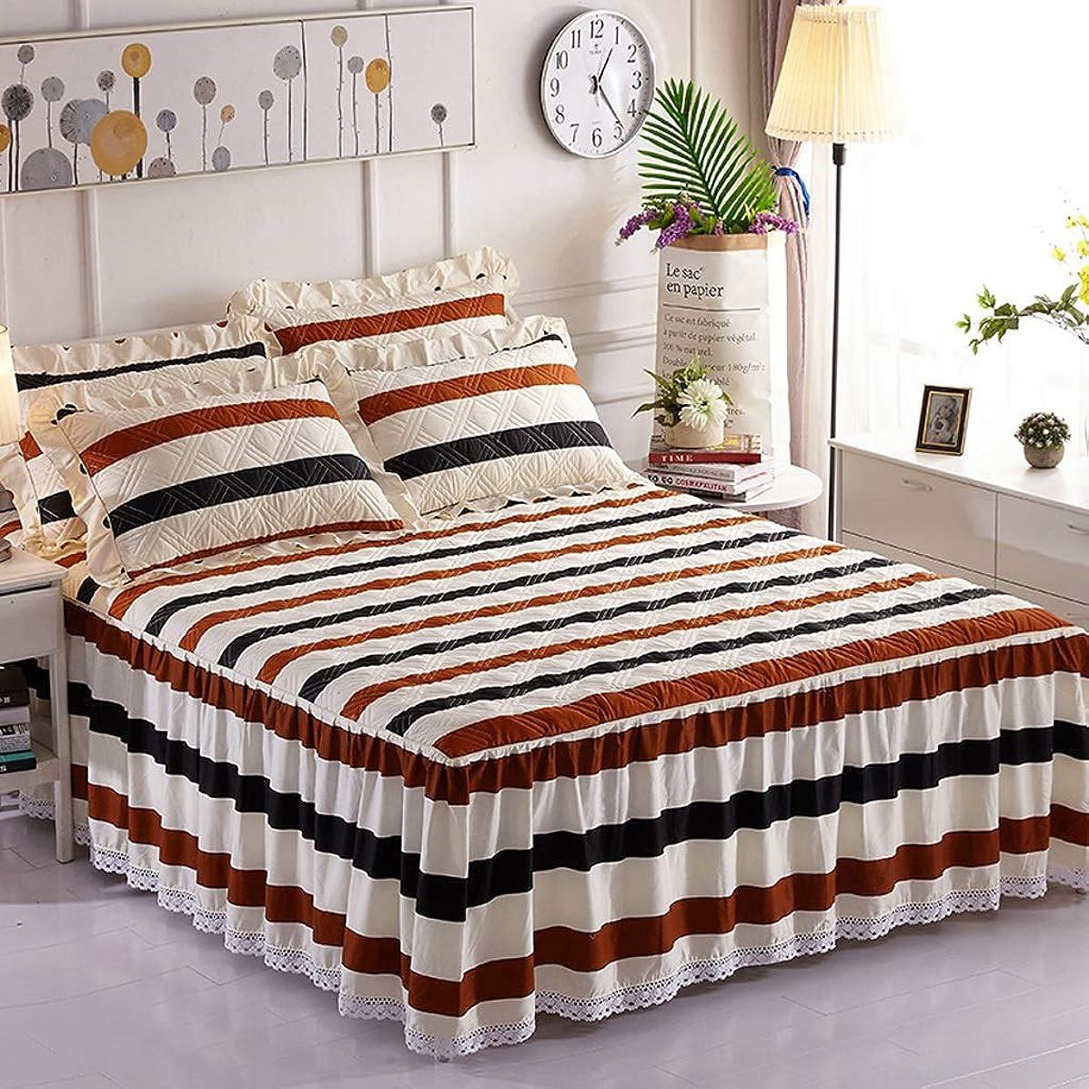 類推小康韓国語コットンのベッドスカート豪華なプレミアム品質しわと退色耐性マイクロファイバーマルチフリル滑り止め保護ケース - ほこりを追加 (色 : M m, サイズ さいず : 200x220cm+pillowcase)