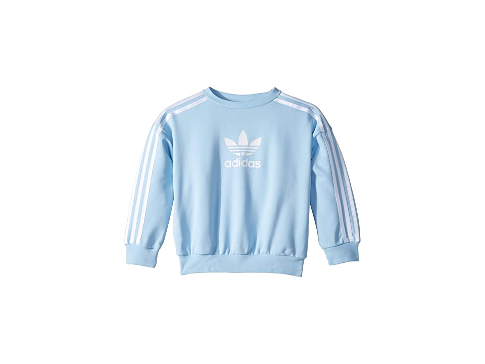 Image of adidas Originals Kids Clear Sky Sweatshirt (Little Kids/Big Kids) (Clear Sky/White) Girl's Sweatshirt