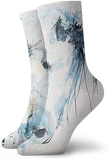 tyui7, Calcetines de compresión antideslizantes de caballos blancos pintados a la acuarela Calcetines deportivos de 30 cm acogedores para hombres, mujeres y niños