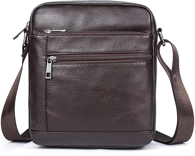 Bolso bandolera para hombre pequeño, para hombre, de piel, estilo vintage, para el hombro, para tableta vertical, bolsa de mensajero de viaje, con cremallera, estilo retro, clásico, para el trabajo