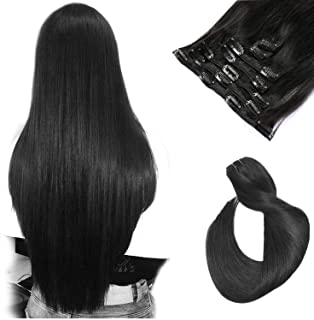 Clip in Hair Extensions Natural Black 7A Grade 7 Pieces 70 Gram Clip in Human Hair Silky Straight Weft Remy Real Hair Extensions Clip on 15 Inch for Women