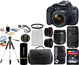 Canon EOS Rebel T5 Digital Camera SLR Kit With Canon EF-S 18-55mm IS II + Canon 75-300mm III Lens + 64 GB Card and Reader + Camera and Lens Case + Spare Battery Pack + 2 58mm UV Filters + Wide Angle Lens (58mm) + Telephoto Lens (58mm) + Tripod + Digital Camera Cleaning Kit + Accessory Kit