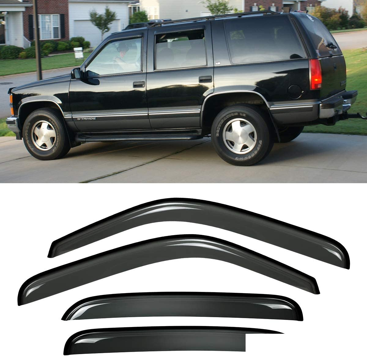 Deebior 4pcs Dark Smoke Tinted New color Sun Rain Guard Lowest price challenge Vent Window Shade