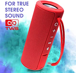 EBODA Portable speaker, Waterproof Wireless outdoor bluetooth shower speaker with TWS, AUX, 15W Bass Sound, Built-in Mic, Floating, Hands-Free, Bluetooth 4.2, for beach, Sport, bath, Pool, Travel(Red)