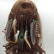 Jovono Indian Feather Headband Tassel Hemp Rope Bohemian Hairband for Women Girls Festival Headdress