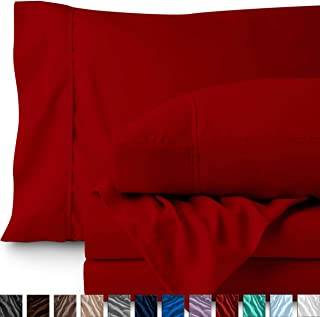 Bare Home Twin XL Sheet Set - College Dorm Size - Premium 1800 Ultra-Soft Microfiber Sheets Twin Extra Long - Double Brushed - Hypoallergenic - Wrinkle Resistant (Twin XL, Red)