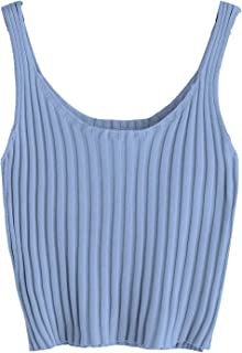 Women's Ribbed Knit Crop Tank Top Spaghetti Strap Camisole Vest Tops