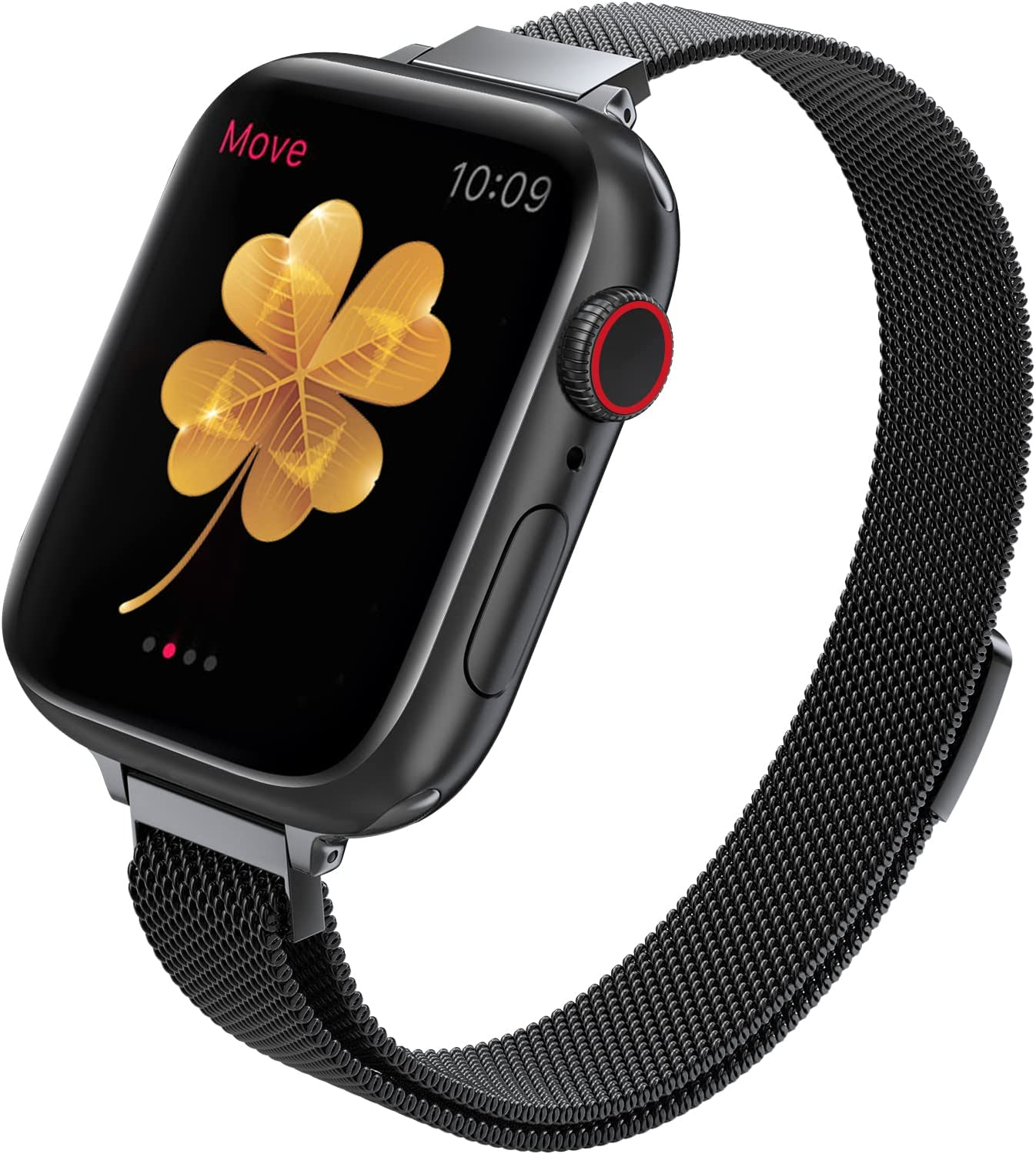 DMORI Compatible with Apple Watch Band 38mm 40mm 42mm 44mm ,Stainless Steel Slim & Thin Mesh Magnetic Clasp Strap Women and Girl Replacement Band for iWatch Series SE 6 5 4 3 2 1 (40mm/38mm,Black).