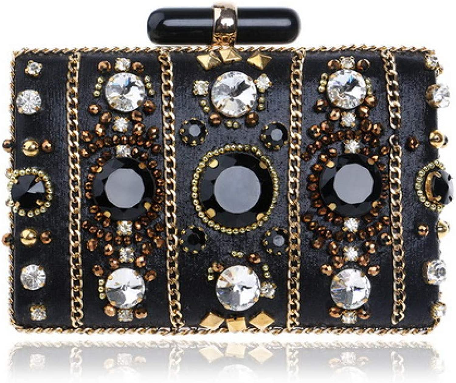 HKDUC Embroidery Women Handbags Beaded Chain Accessory Metal Day Clutches Party Wedding Evening Bags One Side Diamonds Purse