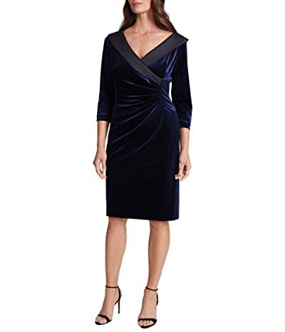 Tahari by ASL Velvet Side Ruched Cocktail Dress with Satin Trim (Navy) Women