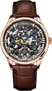 Agelocer Men's Watch Top Brand Fashion Skeleton Mechanical Automatic Luxury Watch Leather Band Waterproof Watches for Men