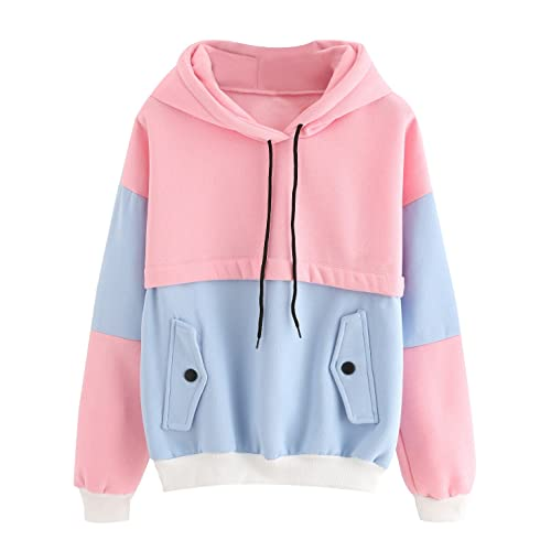 SweatyRocks Womens Long Sleeve Colorblock Pullover Fleece Hoodie Sweatshirt  Tops 16e5efeefca0