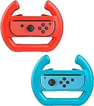 MoKo Nintendo Switch Wheel, Mario Kart Steering Wheels Controller Handle for Nintendo Switch Joy-con 2 Pack (Blue & Red)