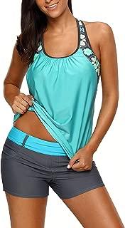 Womens Floral Blouson Swimwear T-Back Tankini Top
