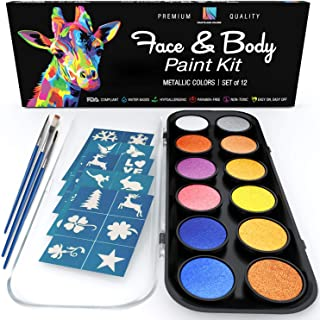 Face Paint and Body Painting Kit – Set of 12 Metallic Colors with Bonus Flat and Detail Paint Brushes – Comes w/ 30 Design Stencils – Non Toxic, Water Based and Easy On, Easy Off – FDA Compliant