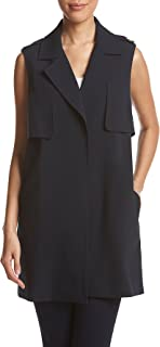 Tahari by Arthur S. Levine Women's Crepe Two Button Vest with Contrast Collar