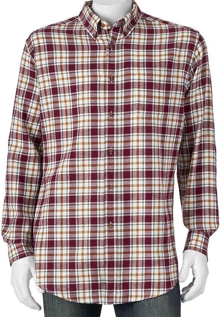 Croft & Barrow Mens Flannel Shirt Big & Tall White Burgundy Western Plaid