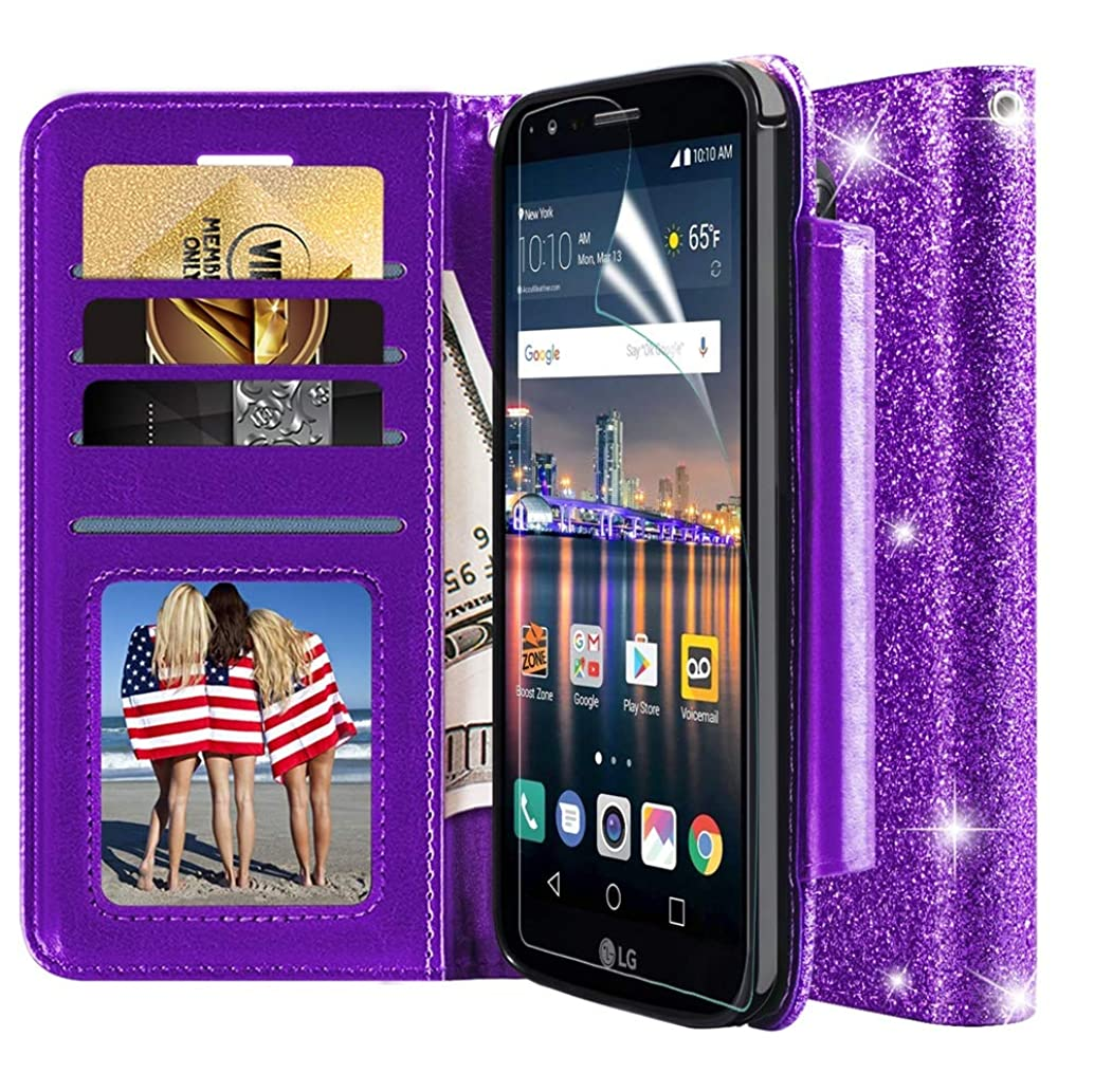 LG Stylo 3 Case,LG Stylo 3 Plus Wallet Case,with HD Screen Protector,Kickstand Card Slots Wrist Strap Magnetic Flip Shockproof Heavy Duty Protection Rugged PU Leather Glitter Phone Cover-Purple
