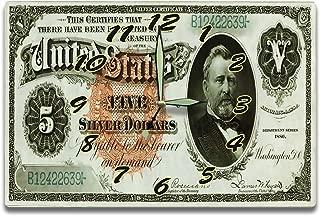 Ulysses S. Grant Customized Money Clock United States National Treasury Series 1886 5 Dollar Silver Certificate Bill 8 x 12 inch clock US Civil War