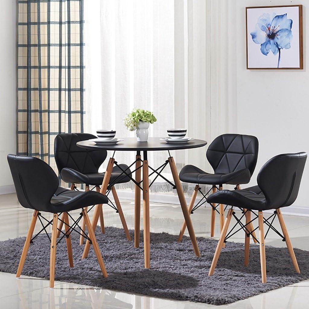 HWL Nordic loisirs simple chaise en cuir chaise d'ordinateur à la maison dossier chaise à manger en bois massif chaise (Color : Brown) Black