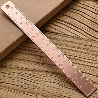 Creative Stationery Drawing Ruler Brass Straight Ruler Learning Measuring Ruler For School Office(rose gold)