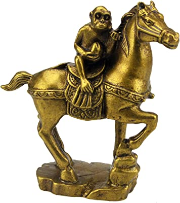 Fengshui Brass Monkey with Peach Atop Horse for Career + Fre