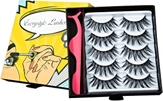 Fake Eyelashes Self Adhesive Handmade Reusable Thick Crisscross Long Soft and Comfortable 3D Lashes Fluffy Natural Eyelashes,With Free EyeLash Tweezers,Hardcover Pack#008-B 5 Pair