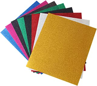 Kenteer Iron on Heat Transfer Vinyl Sheets Glitter HTV for Tshirts 8 Pack 12x10 Inches