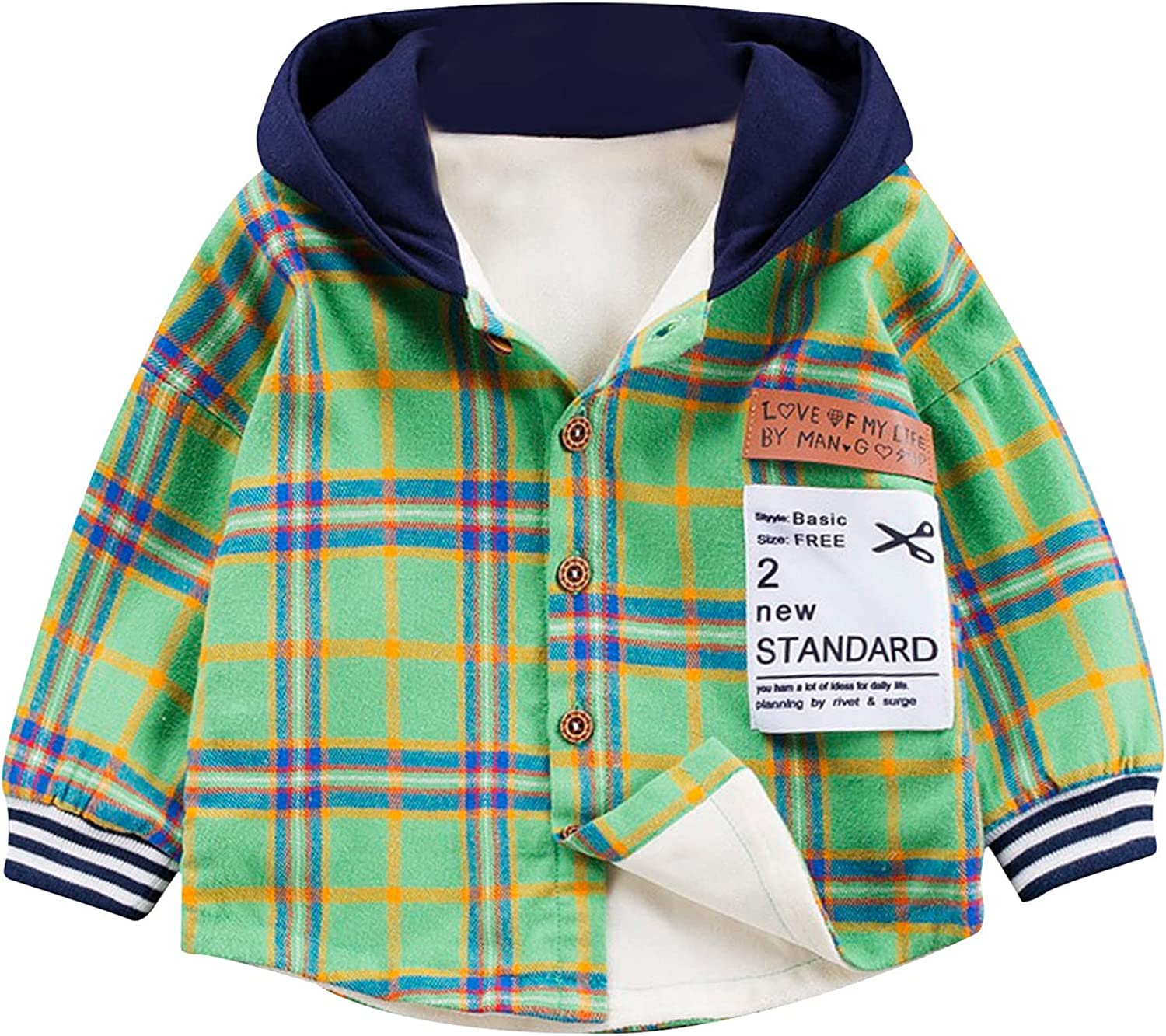 Kid's Shirt, Autumn Warm Long Sleeve Plaid Hooded Top for Birthday Party Photography Vacation