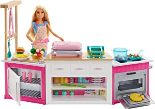 Barbie Kitchen Playset with Doll, Lights & Sounds, Food Molds, 5 Dough Colors and 20+ Accessories