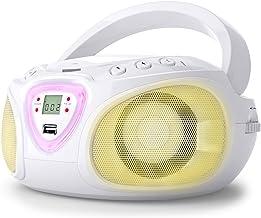auna Roadie - CD-Radio , Equipo estéreo , Minicadena , Reproductor de CD , Puerto USB , MP3 , Sintonizador Am/FM , Bluetooth 2.1 + Der , Luz LED 2 x 1,5 W RMS , Cable y Pilas , Blanco