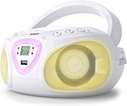 auna Roadie • Radio-CD • Chaîne stéréo Boombox • Lecteur CD • Port USB • MP3 • Tuner Radio AM/FM • Bluetooth 2.1/EDR • Entrée RCA-AUX-Jack 3,5 mm • LED Multicolore • 2x1,5W (RMS) • Blanc