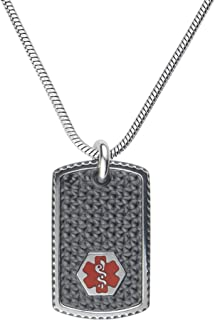 Custom Engraved Black Stainless Steel Medical Alert Necklace, Medical ID Necklace Men, Medical Dog Tag and Chain w/Free Engraving -24/28