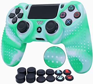 Water Transfer Printing Silicone Skin for PS4 RALAN ,PS4 Silicone Skin Controller for PS4 Pro Controller (Black Pro Thumb ...